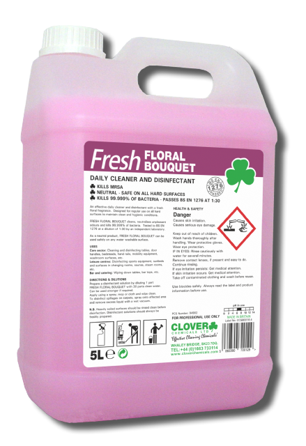 Clover Fresh Floral Bouquet - Fragrant Cleaning Chemical and Disinfectant Kills 99.999% of bacteria.